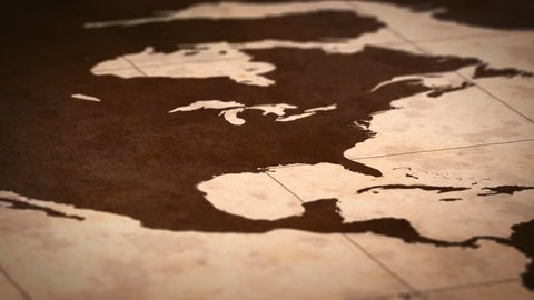 Old paper World Map, Macro, North America, USA.