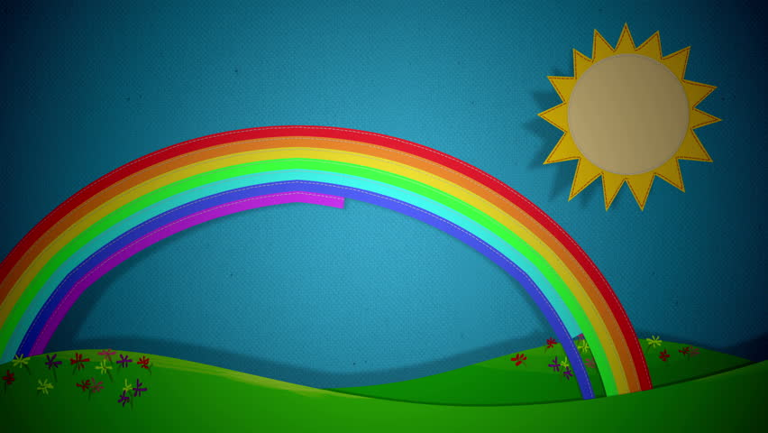 4k Cartoon Clouds fabric made with stitches on blue background with grass, sun and rainbow, different positions and transitions from one scene to another