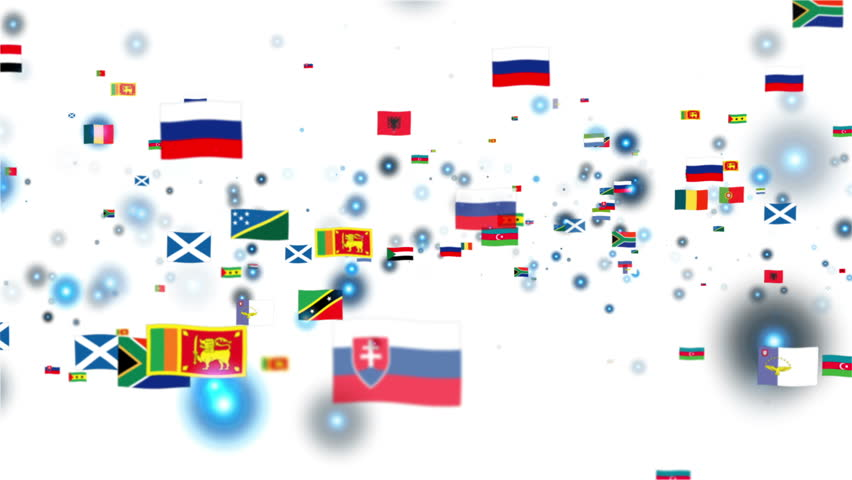 Flags of the World, camera fly through, white