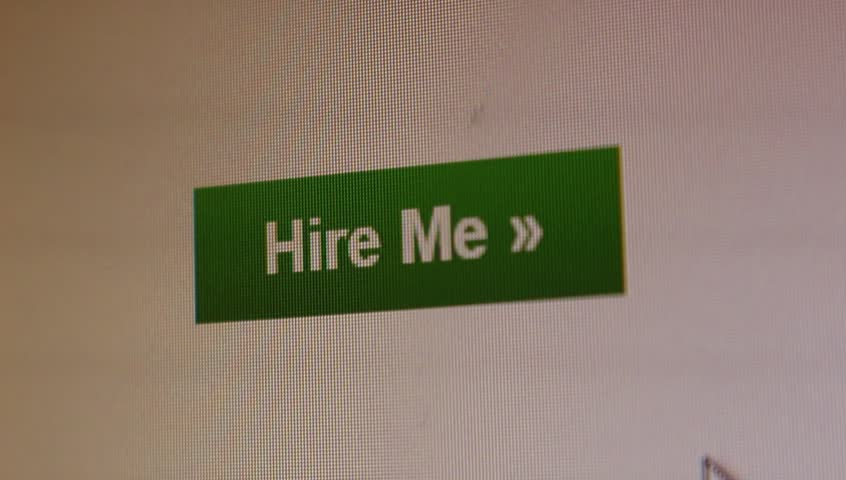 Workless freelancer is asking employer for the job with the Hire Me button.