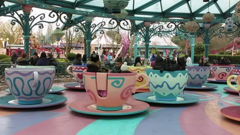 PARIS, FRANCE - FEBRUARY 20, 2015: Mad Hatter's Tea Cups attraction un Disneyland park