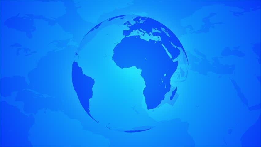 Looping Blue Globe Breaking News Style North World Background