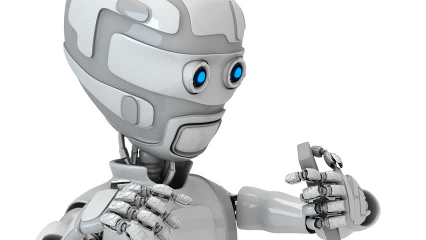 The robot has a mobile phone on which the message has come