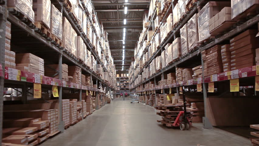 Multi level warehouse with racks full of goods and materials | Shutterstock HD Video #8979550