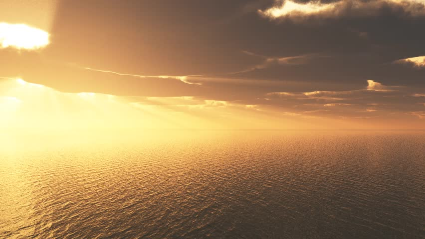 A golden sky over a rippling sea, with thick clouds letting the sun's rays pass through. Rendering.