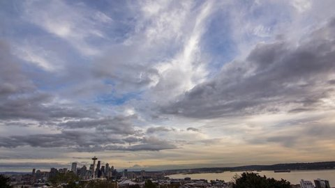 Time lapse of sunset over Seattle.  This is a full day to night time lapse scene
