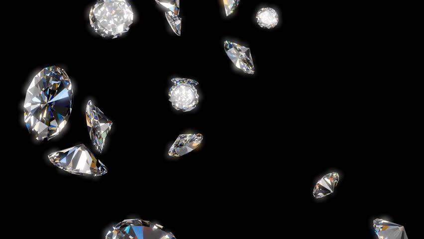 Falling Diamonds - 3d animation with alpha matte | Shutterstock HD Video #8994499