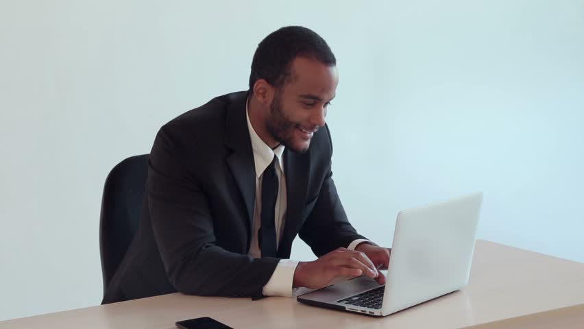 African-American Businessman Concentrated On His Work