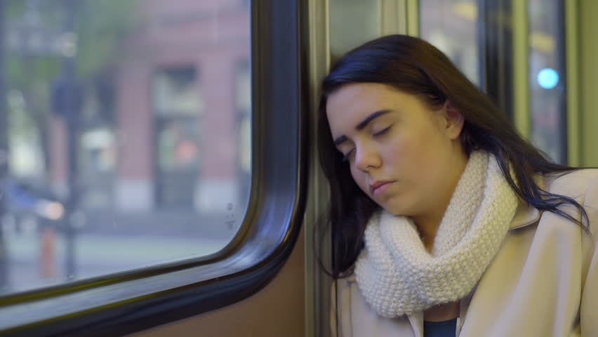 Mixed Race Teen Girl Sleeps On The Train On A Sunny Day In The City | Shutterstock HD Video #9020947