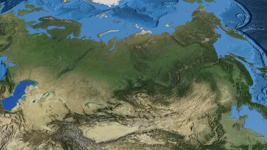 Glide Over The Satellite Map Of Russia Country Area Highlighted