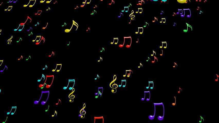 Animated falling colorful music notes on black background. Each music note is a 3d model with light reflection on surface. | Shutterstock HD Video #9133187