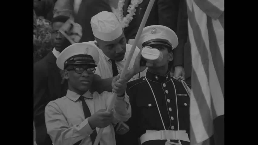 CIRCA 1960s - Silent footage of Martin Luther King speaking in Washington in 1963