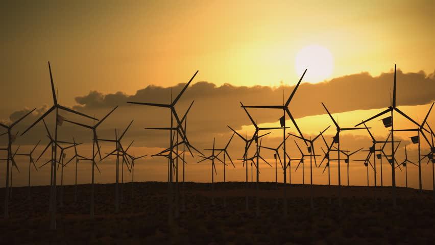 Electricity Wind Turbines Farm Power Clean Alternative Energy Environmental | Shutterstock HD Video #913687