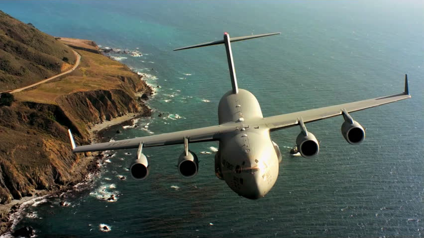 CIRCA 2010s - Aerials of the U.S. Air Force Air Mobility Command C-17 in flight.