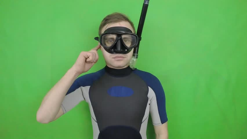 Diving sign- divemaster  shows sing  TROUBLE WITH EAR,  I CAN NOT EQUALIZE PRESSURE   ,also a available on the green screen all of diving sings from course (open water diver) 2 0F 3