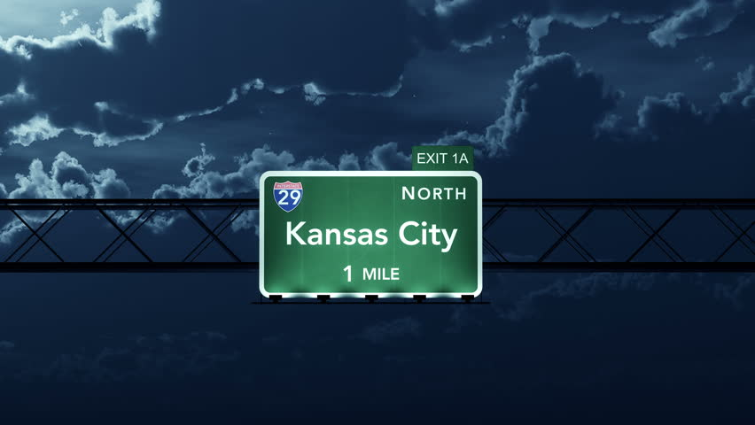 4K Passing under Kansas City USA Interstate Highway Sign at Night with Matte Photo Realistic 3D Animation 4K 4096x2304 ultra high definition