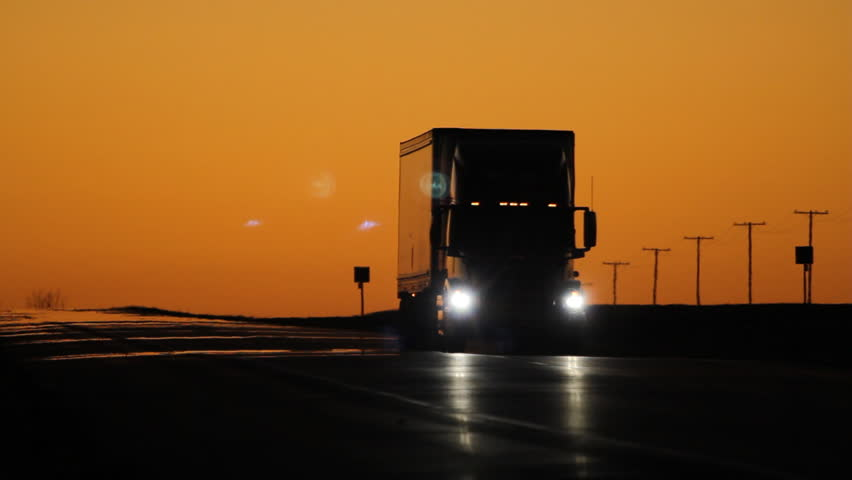Oncoming truck with headlights at dusk. Saskatchewan, Canada.  | Shutterstock HD Video #9159587