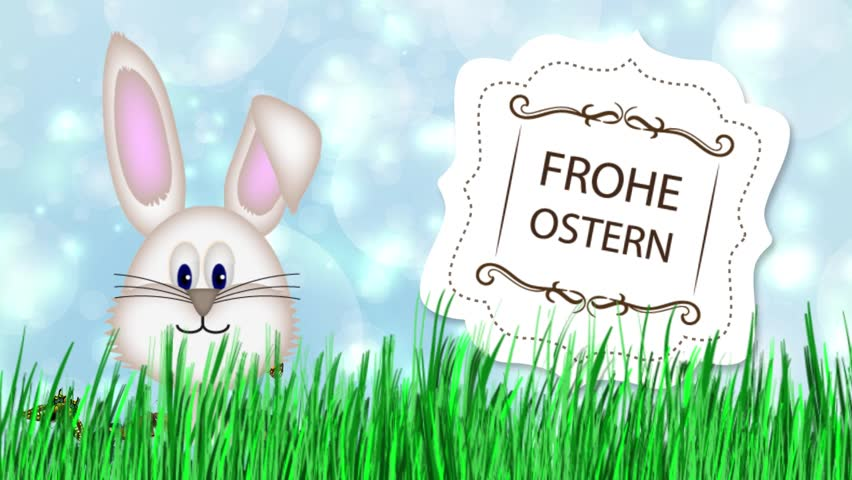 Happy Easter - Easter Bunny Video Animation German Frohe Ostern - HD stock footage clip