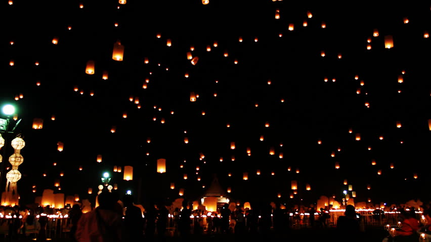 Flying Lantern Yeepeng Loi Kra Tong festival in thailand   Shutterstock HD Video #9169982