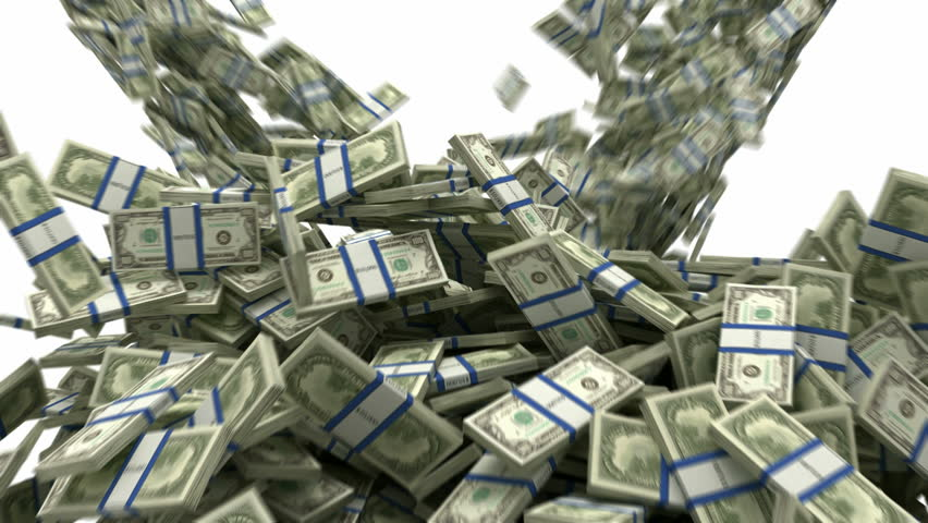 Y-shaped US dollar bundles flow with slow motion. Wealth and money