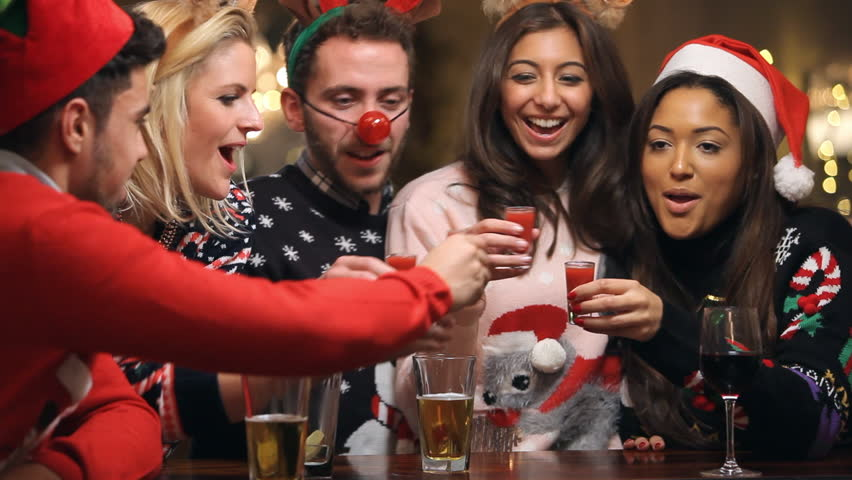 Friends Christmas Party Ideas Part - 33: Group Of Friends In Bar Enjoying Christmas Party Drinking Shots Together.  Shot On Sony FS700 At A Frame Rate Of 25fps Stock Footage Video 9182657 |  ...