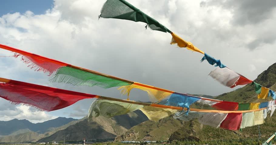 4k flying prayer flag with mountain,tibet. gh2_09004_4k | Shutterstock HD Video #9202757