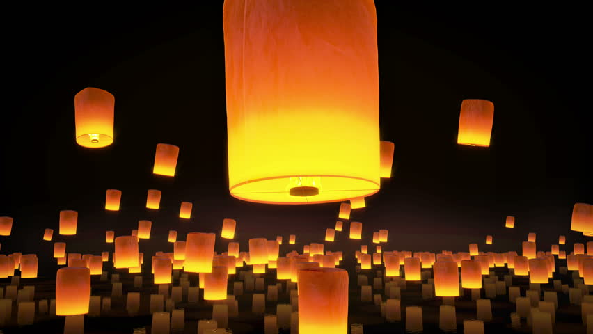 4k beautiful sky Lanterns flying in night sky, lantern festival crowd flying, air floating particles , 3d animation | Shutterstock HD Video #9218537