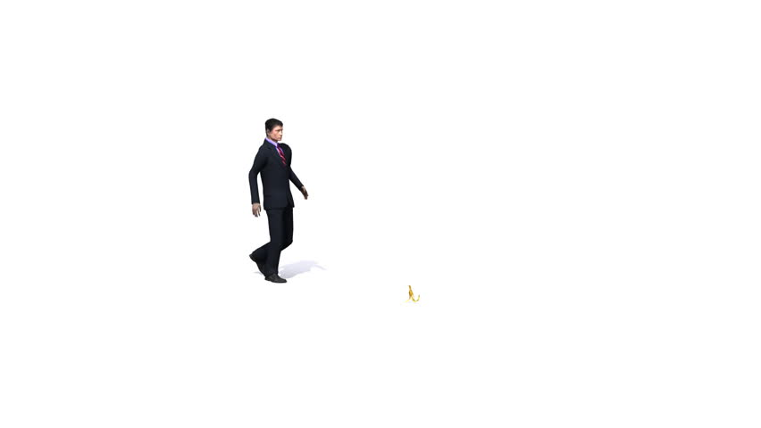 Business man walks and slips on a banana skin.