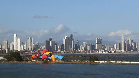 Puerto de Balboa, Panama - February  20: view from the sea in the port of Panama. /