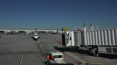 SALT LAKE CITY, UTAH - SEPT 2014: Salt Lake City Utah International airport aircraft arrive part 2. The Transportation Security Administration TSA an agency of U.S. Department of Homeland Security.