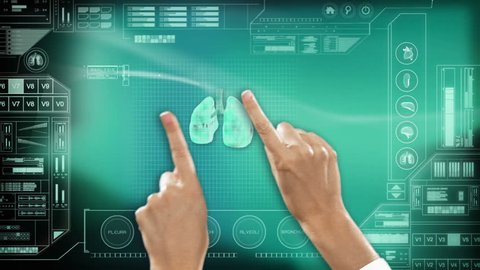 medical health motion graphics touch screen technology hands lungs respiration