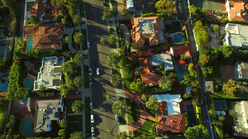 Los Angeles Aerial Beverly Hills v57 Low flying vertical aerial over Beverly Hills neighborhood. 2/24/15