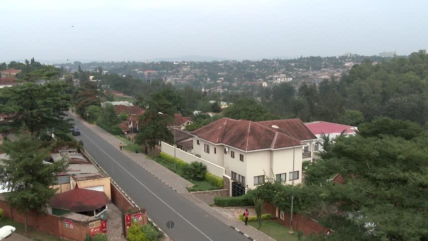 KIGALI, RWANDA, JANUARY 2015: An African city view in 4k