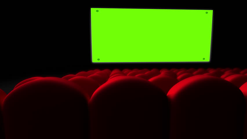 Cinema screen with green screen and open red seats | Shutterstock HD Video #9315611