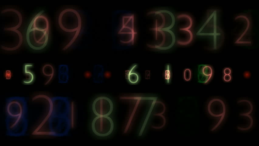 Digital scoreboard. Numbers of different sizes and colors, fast moving horizontally. | Shutterstock HD Video #9317195