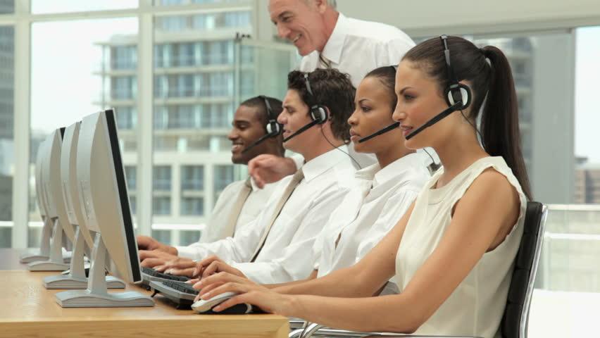 Supervisor Managing a Call Center Team