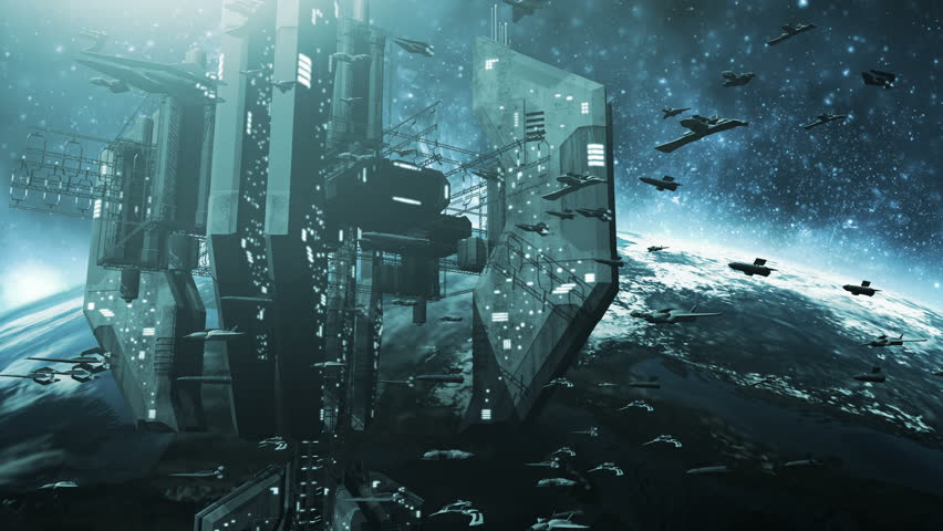 Animated fleet of futuristic spaceships and an impressive space station 4K. 3d rendering.