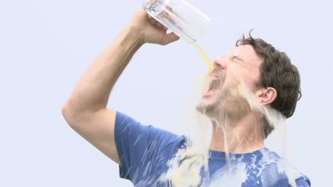 Model released man pours pint of beer on face because he simply loves beer that much.