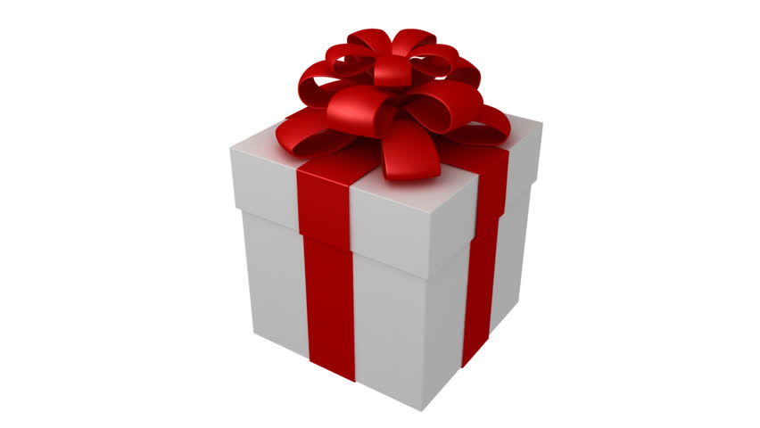 White gift box with red ribbon and bow isolated rotation on 360 white gift box with red ribbon and bow isolated rotation on 360 hd 30fps loop 1080p stock footage video 933697 shutterstock negle Gallery