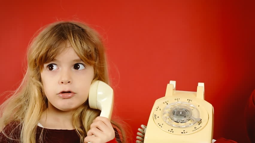 A Cute Little Girl Answering The Phone An Old Retro -9992