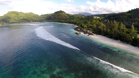 The aerial view of Baie Lazare, Mahe island, Seychelles