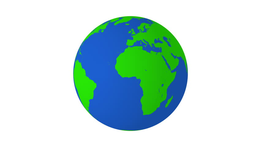 3D Earth On A White Background With Green Continents On A