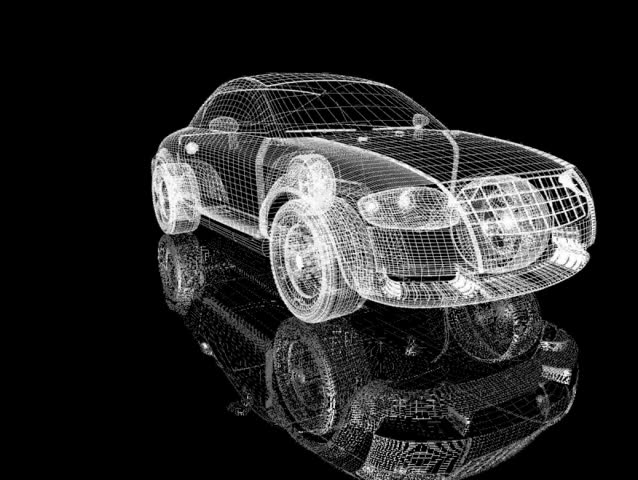 Rotation of the reticulated model of car | Shutterstock HD Video #94147