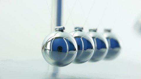 Newton's Cradle pendulum close up over white background with sound.