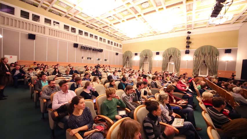 MOSCOW, RUSSIA - NOV 21, 2013: Audience in Scientific and Practical Conference Animation as cultural phenomenon in Russian State University of Cinematography #9424547