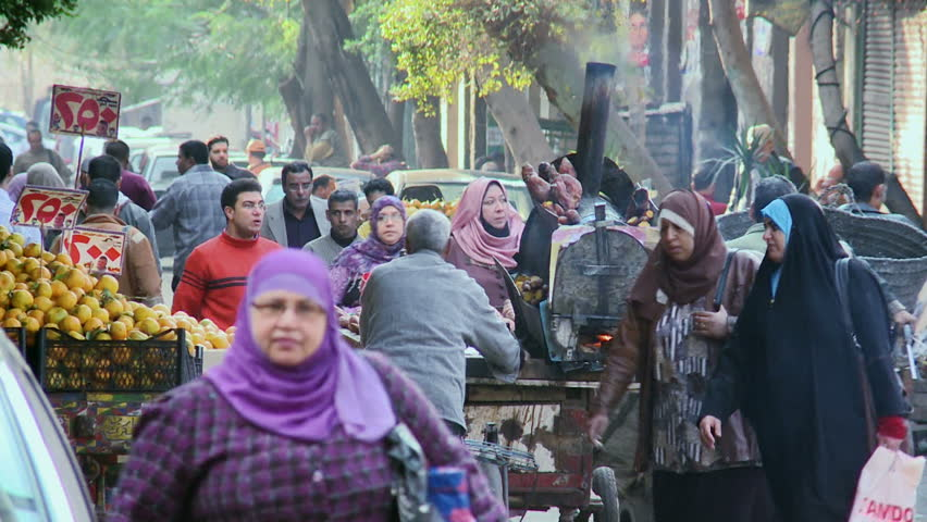 CAIRO, EGYPT - 5 DEC 2011: A busy street in Cairo. Cairo is the capital of Egypt and the largest city in the Middle-East.