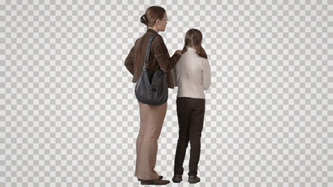 Woman & girl stand side by side, look, show & talk each other. Back view. Footage with alpha channel. File format - mov. Codec - PNG+Alpha Combine these footage with other people to make crowd effect
