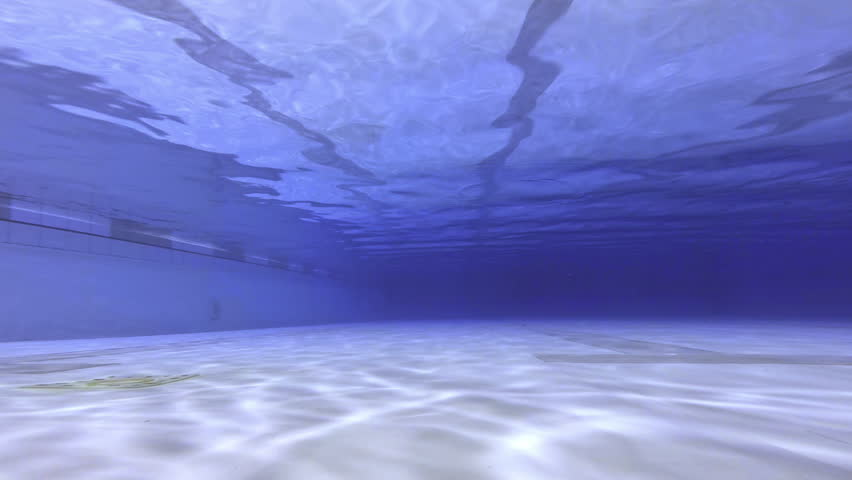 underwater footage of empty olympic indoor pool hd stock video clip