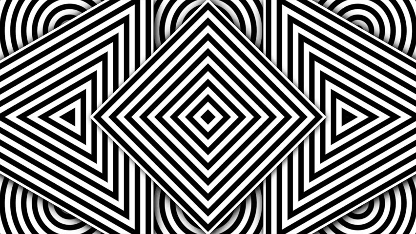 Hypnotic rhythmic movement of geometric black and white shapes
