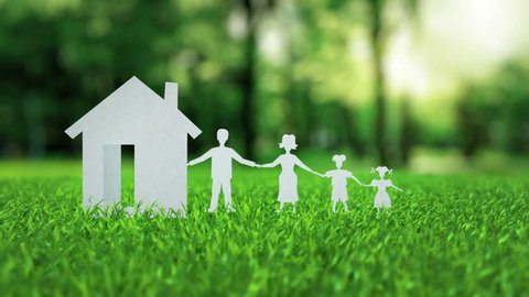 White paper house with family animation on green nice summer grass mortgage concept with mask alpha matte isolate you can easily change color on post